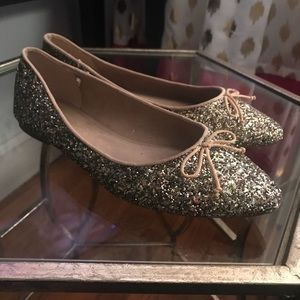 Gold sparkly ballet flats - Size 8